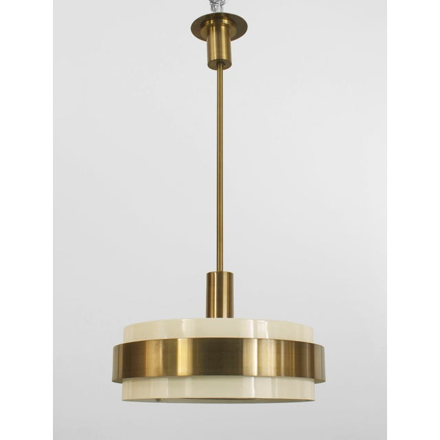 1930s French Art Deco Cream Painted Metal And Brass Trimmed Round Framed Lantern For Sale - Image 4 of 4