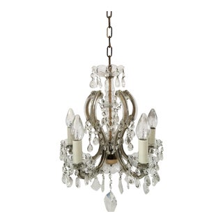 1940's Crystal 5 Arm Chandelier