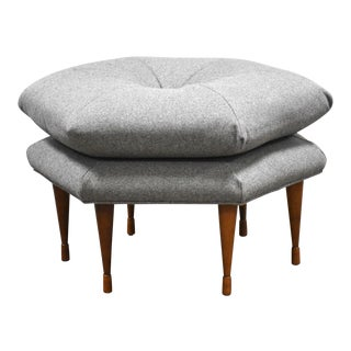 Grey Hexagonal Ottoman by Selig For Sale