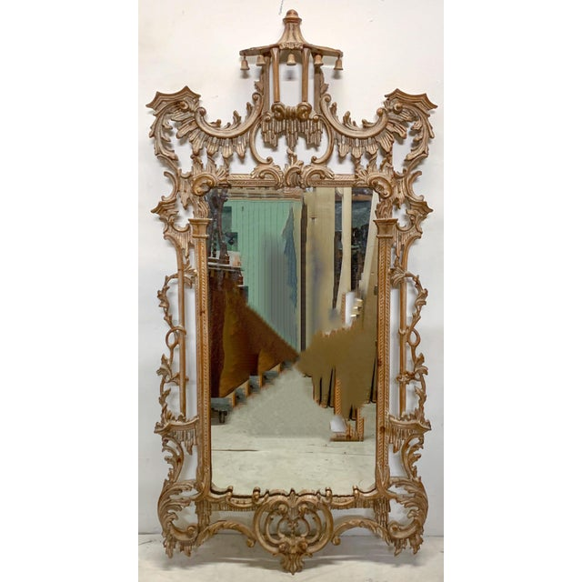 Tan LaBarge Chinese Chippendale Style Pagoda Mirror For Sale - Image 8 of 9