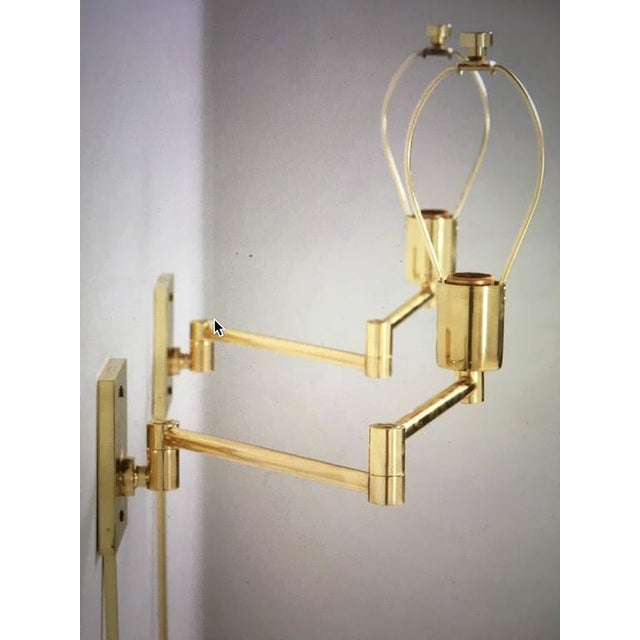 Vintage Hansen Brass Swing Arm Wall Lamps - A Pair For Sale - Image 9 of 9