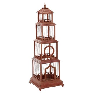 """Large 4'4"""" Regency Style Painted Bird Cage"""