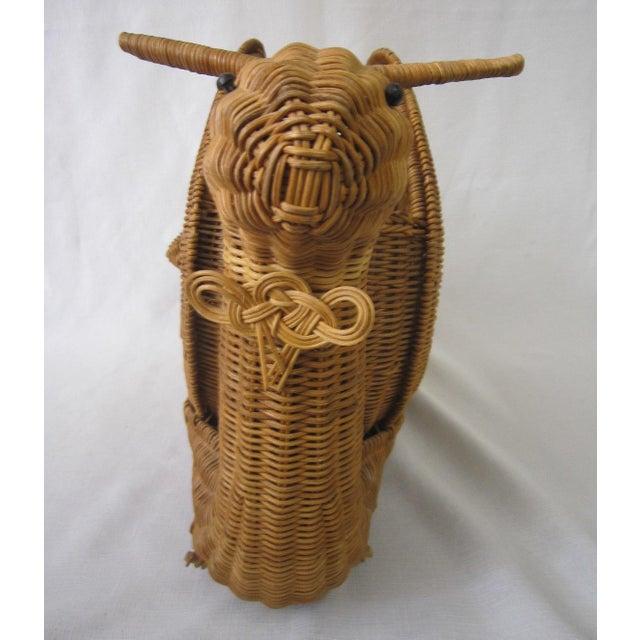 1970s Vintage Wicker Snail Basket For Sale - Image 5 of 8