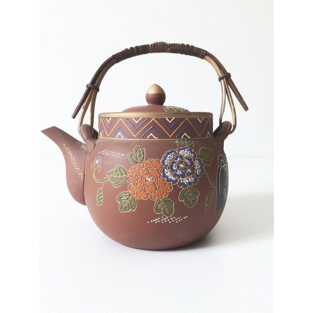 Blue Asian Floral Enameled Clay Teapot For Sale - Image 8 of 8