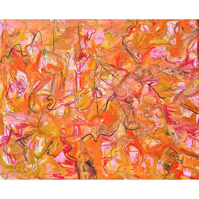 "Large Abstract Oil Painting by Trixie Pitts ""Bunny's Bonanza"" - Image 1 of 4"