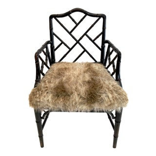 Bamboo Fur Chinoiserie Chair For Sale