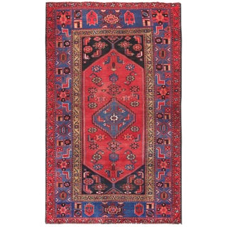 """Pasargad Vintage Hamadan Red and Blue Wool Area Rug- 4' 3"""" X 7' 1"""" For Sale"""