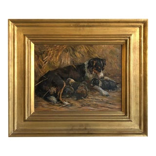 Collie Bitch With Puppies Signed 'J. Murray Thomson' Provenance Christies London For Sale