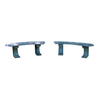 Vintage Henri Studios Cast Stone Dolphin Base Benches a Pair For Sale
