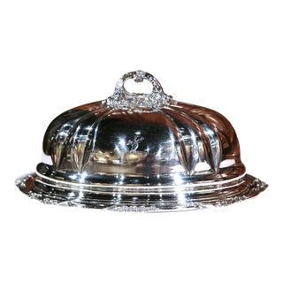 19th Century English Henry Wilkinson Silver Plated Serving Platter with Dome For Sale