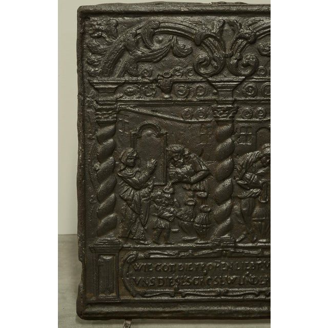 Unique 16th Century Antique Fireback, Biblical Wine Feast For Sale - Image 4 of 6