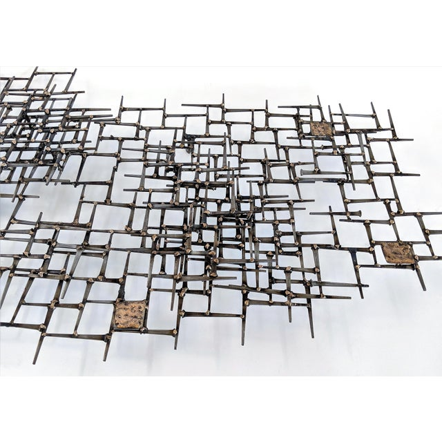 Brass Abstract Nail & Bronze Wall Jere Style Sculpture For Sale - Image 7 of 12