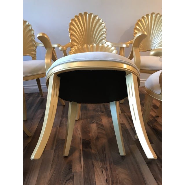 Mid Century Hollywood Regency Venetian Grotto Shell Gold Carved Arm Chairs- 6 Available For Sale - Image 10 of 11