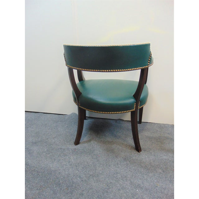 Late 20th Century Modern Mahogany & Leather Office Desk Chair For Sale - Image 5 of 7
