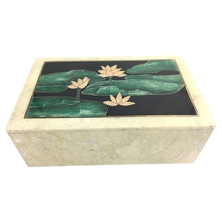 Mid-Century Modern Inlaid Stone Lily Pad Box For Sale