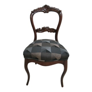 Antique Victorian Rose Carved Walnut Side Chair For Sale