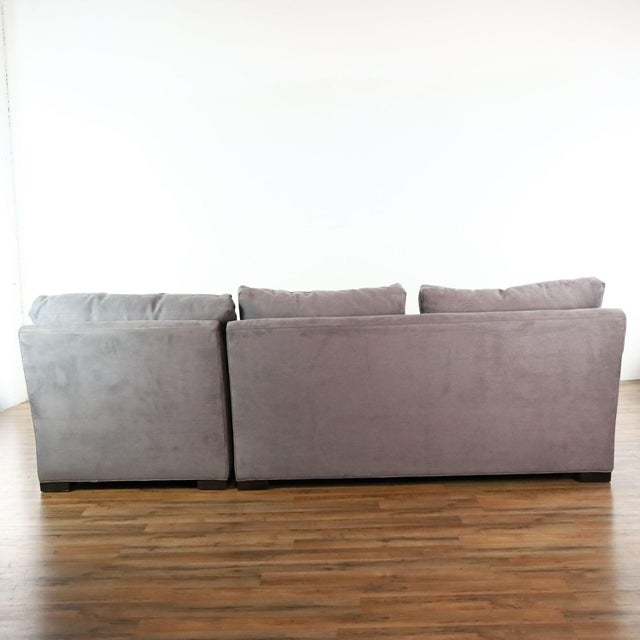 2010s Crate & Barrel Gray Upholstered Sectional Sofa For Sale - Image 5 of 9