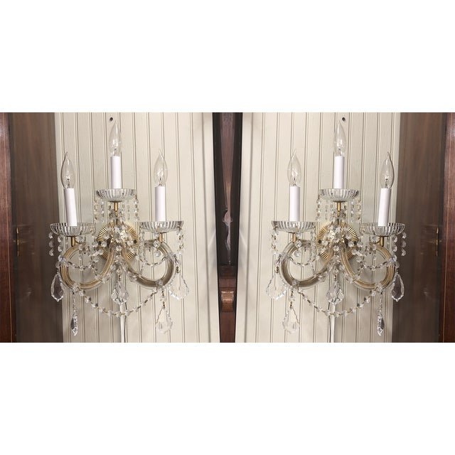 Metal Strass Maria Theresa Swarovski Strass Crystal Sconces - a Pair For Sale - Image 7 of 7