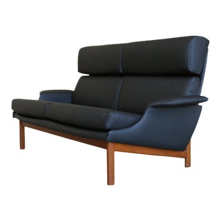 "Ib Kofod-Larsen for Mogens Kold Black Leather ""Adam"" Settee For Sale"