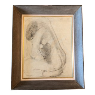 Original Modernist Charcoal Female Nude Drawing For Sale
