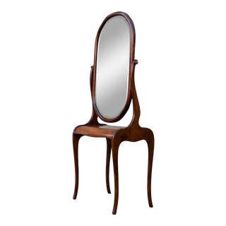 1930s Art Nouveau Mahogany Mirror Entry Console Table For Sale