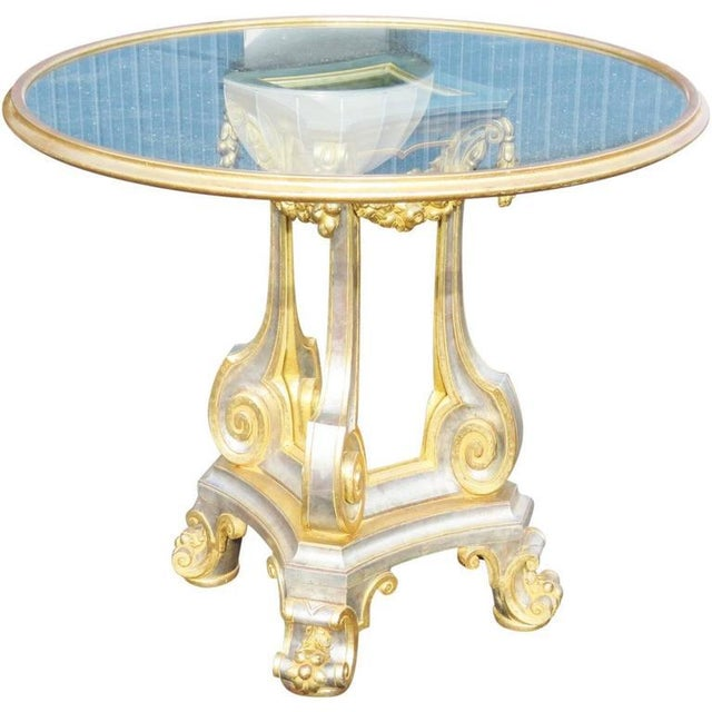 Mid 20th Century Directoire Style Glass Top Center Table For Sale - Image 5 of 5