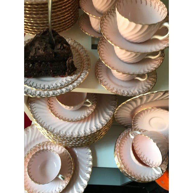 Minton Shell Pink Gilt Porcelain Service for 12, C. 1950 - Image 2 of 7