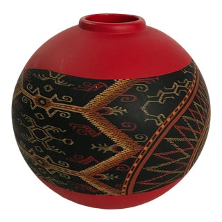 Red Hand Painted Vase Signed by Artist For Sale