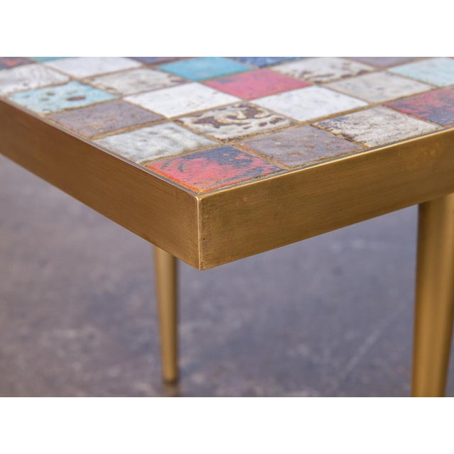 California Modern Tile-Top Brass Coffee Table For Sale - Image 9 of 10
