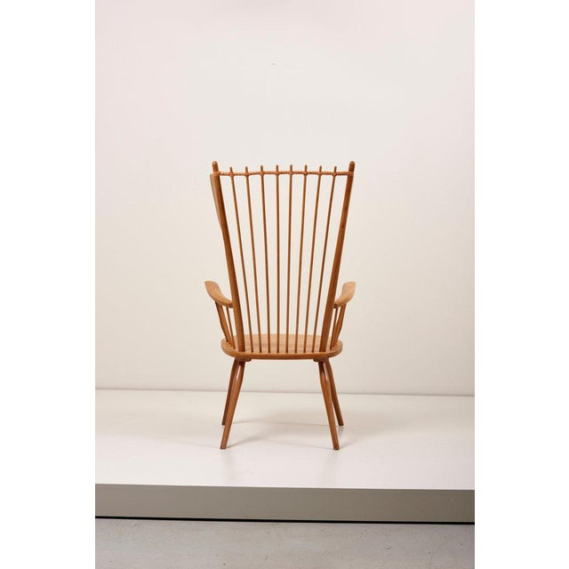 Hermann Flener Albert Haberer Wingback Armchair in Solid Wood, Germany, 1950 For Sale - Image 4 of 13