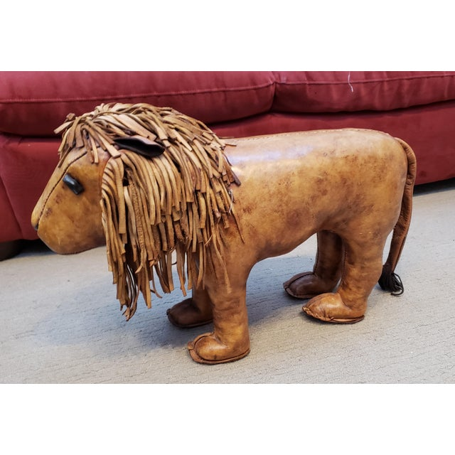 Strange Vintage Omersa Leather Lion Footstool Chairish Beatyapartments Chair Design Images Beatyapartmentscom