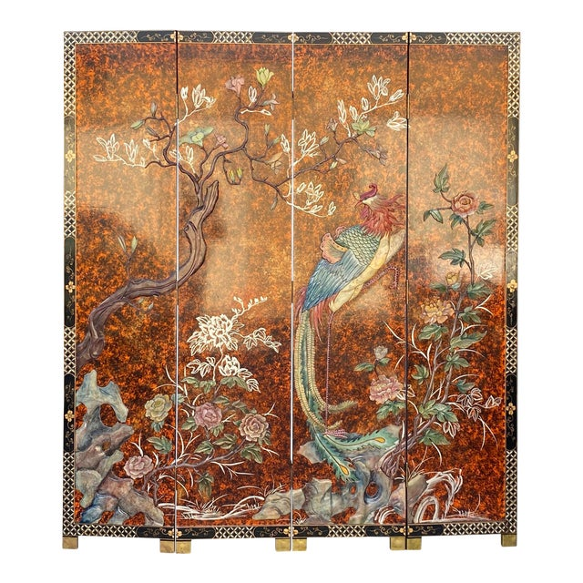 Jade Color Stone Inlaid Black Lacquer Wood Floor Screen Divider For Sale