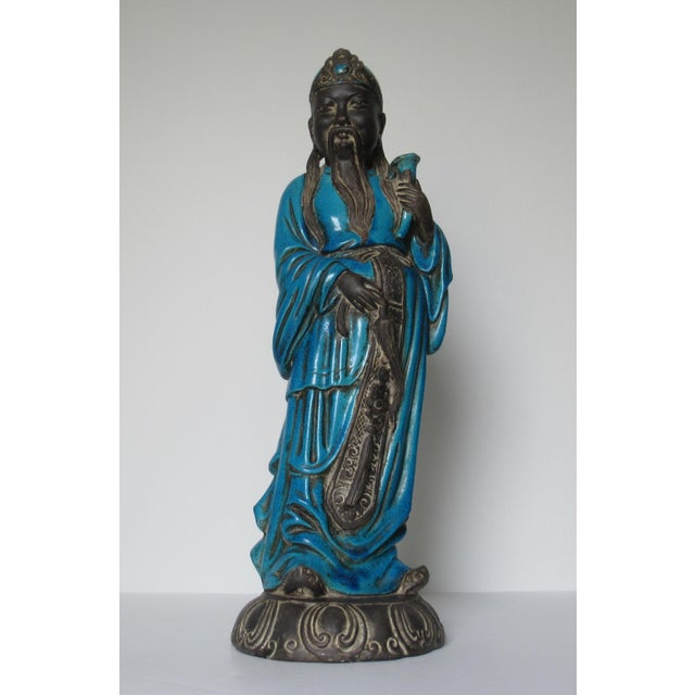 C1950s Rare Italian Ugo. Zaccagnini Terra Cotta Crackle Glaze Persian Blue Asian Figure For Sale - Image 13 of 13