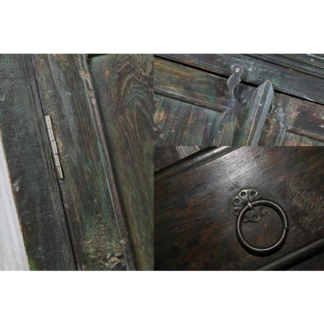 Green Rustic Primitive Cupboard Storage Cabinet with Distressed Paint For Sale - Image 8 of 11