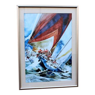 Sailing Watercolor by Willard Bond For Sale