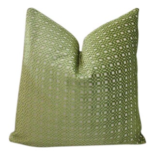 "22""x22"" Lee Jofa ""Shoridge"" Pea Shoot Green Velvet Throw Pillow"