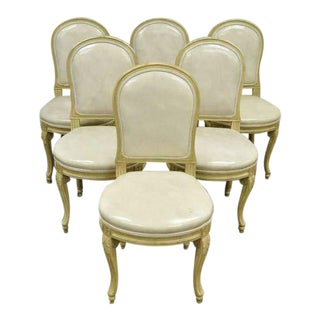 074e860c7ec1 Vintage Mid Century French Louis XV Style Carved   Painted Cream Leather Dining  Chairs- Set of 6