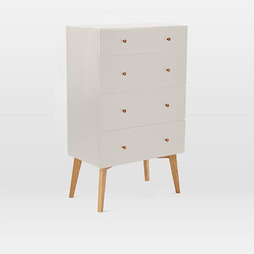 West Elm Mid-20th Century Style Tallboy Dresser For Sale - Image 11 of 13
