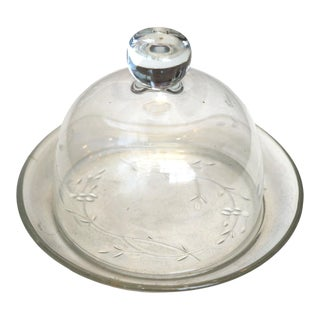 Vintage Glass Plate & Food Cover For Sale