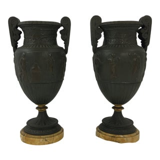 Napoleon III Bronze Grecian Urns With Marble Base a Pair For Sale