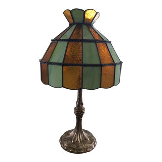Antique Brass and Stained Glass Table Lamp For Sale
