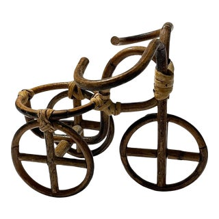Vintage Figurative Bamboo Rattan & Bicycle Planter in the Manner of Mario Lopez Torres For Sale