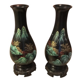 Hand Painted Japanese Bakelite Vases - A Pair