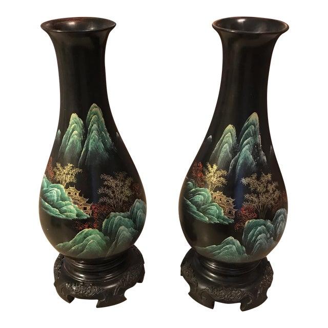 Hand Painted Japanese Bakelite Vases A Pair Chairish
