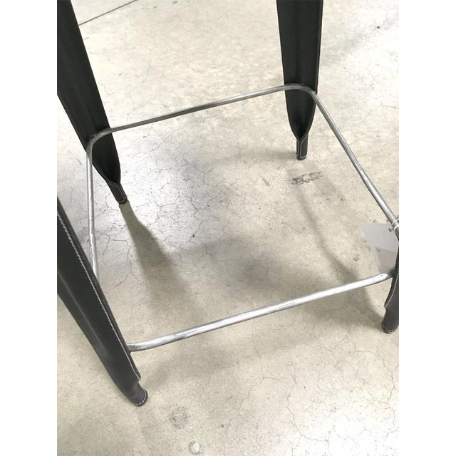 2010s Black Leather Counter Stool For Sale - Image 5 of 6