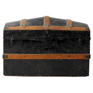 Antique Dome Top Metal Trunk For Sale
