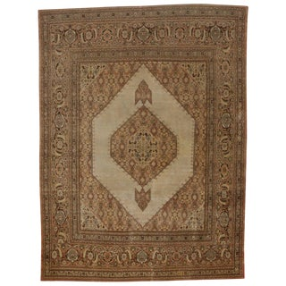 Haji Khalili Antique Persian Tabriz Area Rug with Modern Design