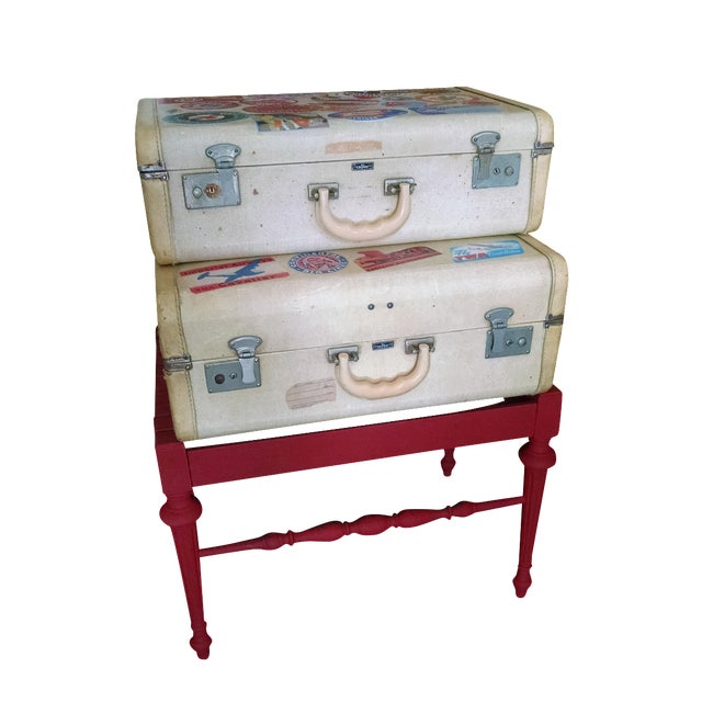 Vintage Suitcase Storage Accent Table - Image 1 of 9