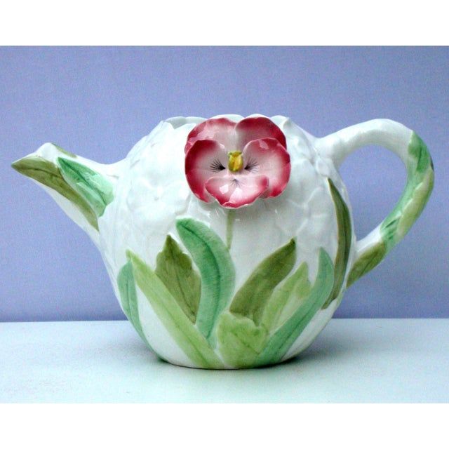 White Green & Pink Porcelain Floral Teapot - Image 6 of 11