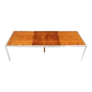 Mid-Century Modern Chrome & Burl Wood Dining Conference Table For Sale